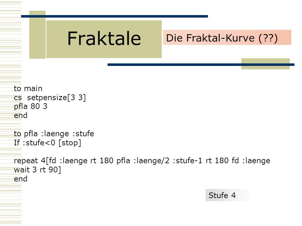 Fraktale Die Fraktal-Kurve ( ) to main cs setpensize[3 3] pfla 80 3